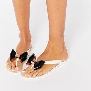 TED BAKER Ettiea Bow Flip Flops Size 5